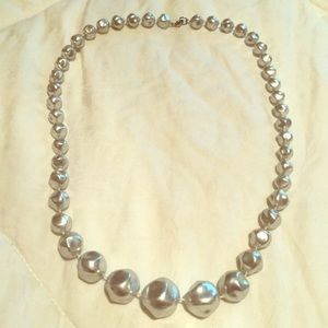 Jewelry - Brushed Silvertone graduated retro bead Necklace